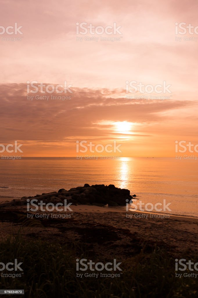 Golden Sunrise on Palm Beach, Florida stock photo