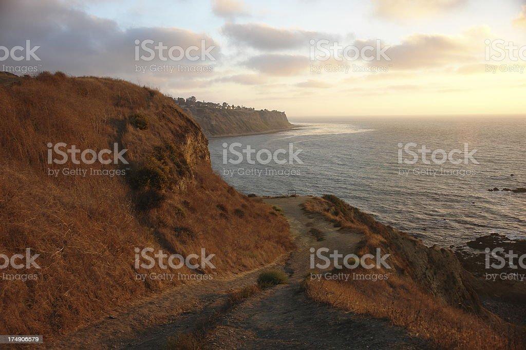 Golden Sunset Adventure California Coast Trail stock photo