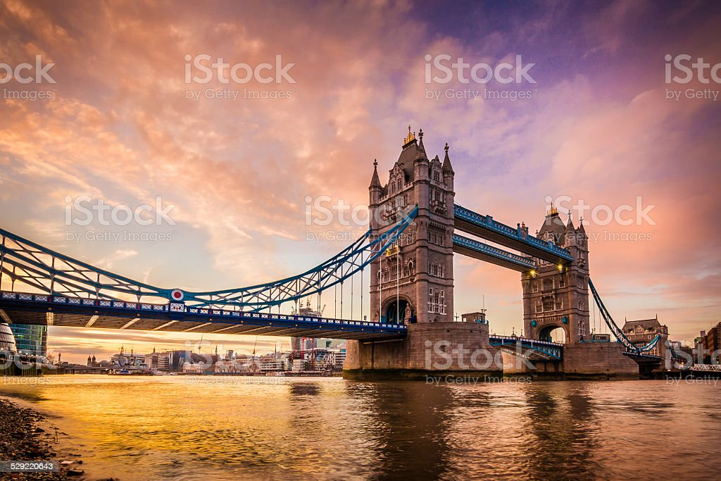 Golden sunset at Tower Bridge's Southbank in city of London stock photo