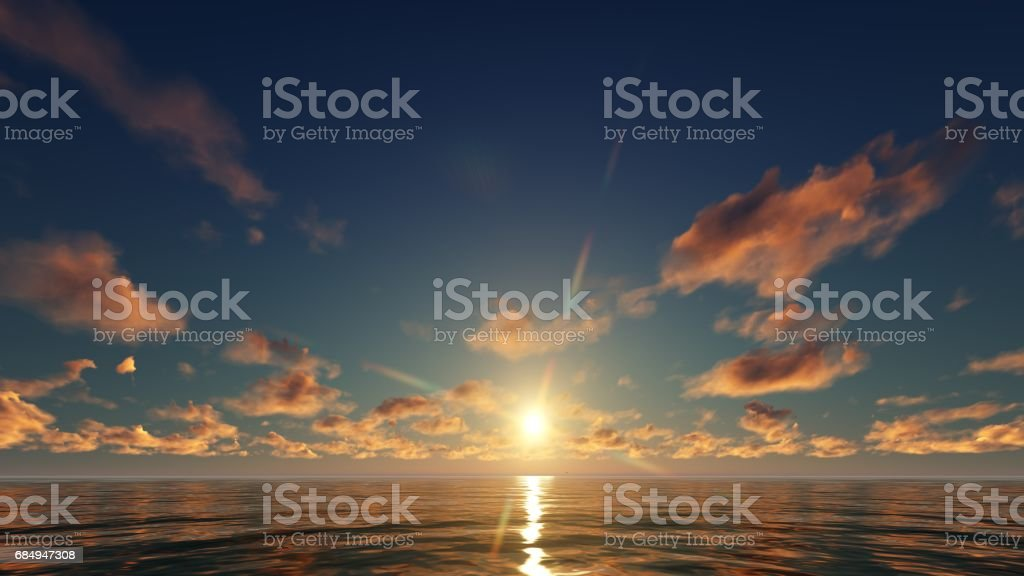 golden sunset clouds in the ocean Lizenzfreies stock-foto