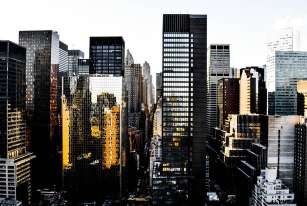 Golden Sunset in Midtown East, Manhattan stock photo