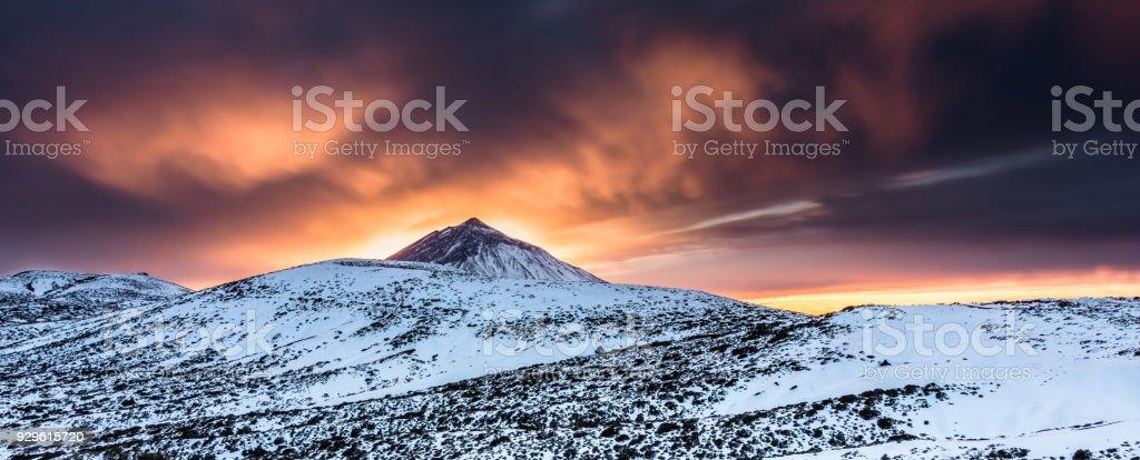 Golden sunset in Teide National Pak stock photo