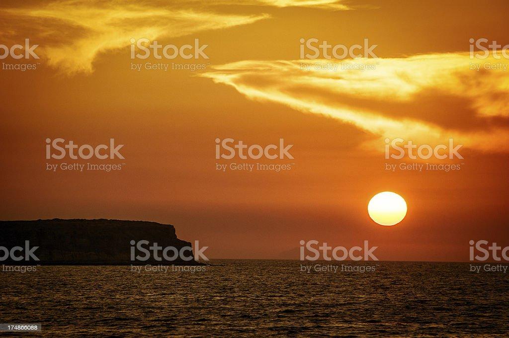 Golden Sunset on the Caldera, Santorini, Greece royalty-free stock photo