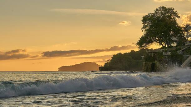 Golden sunset on tropical island Contadora in the Pacific Ocean stock photo