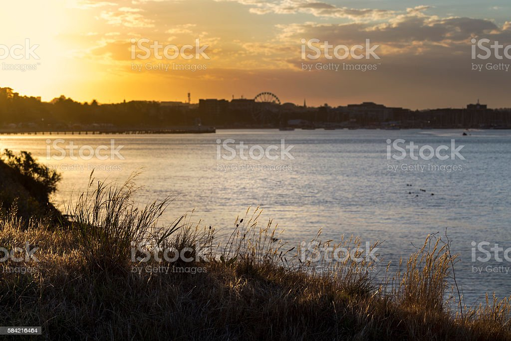 Golden sunset over the bay Geelong, Australia stock photo