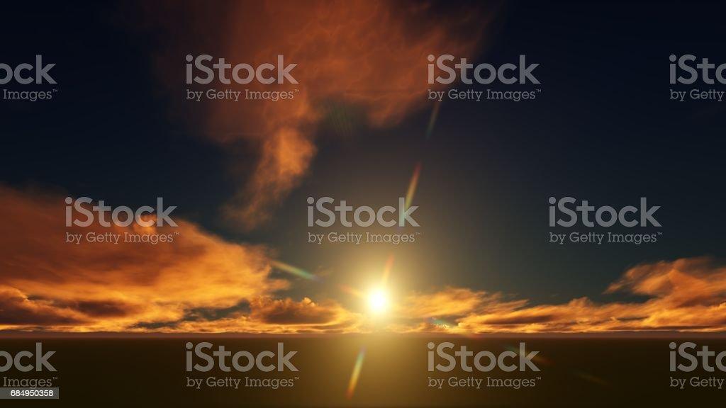 Golden sunset sky over a grass field Lizenzfreies stock-foto
