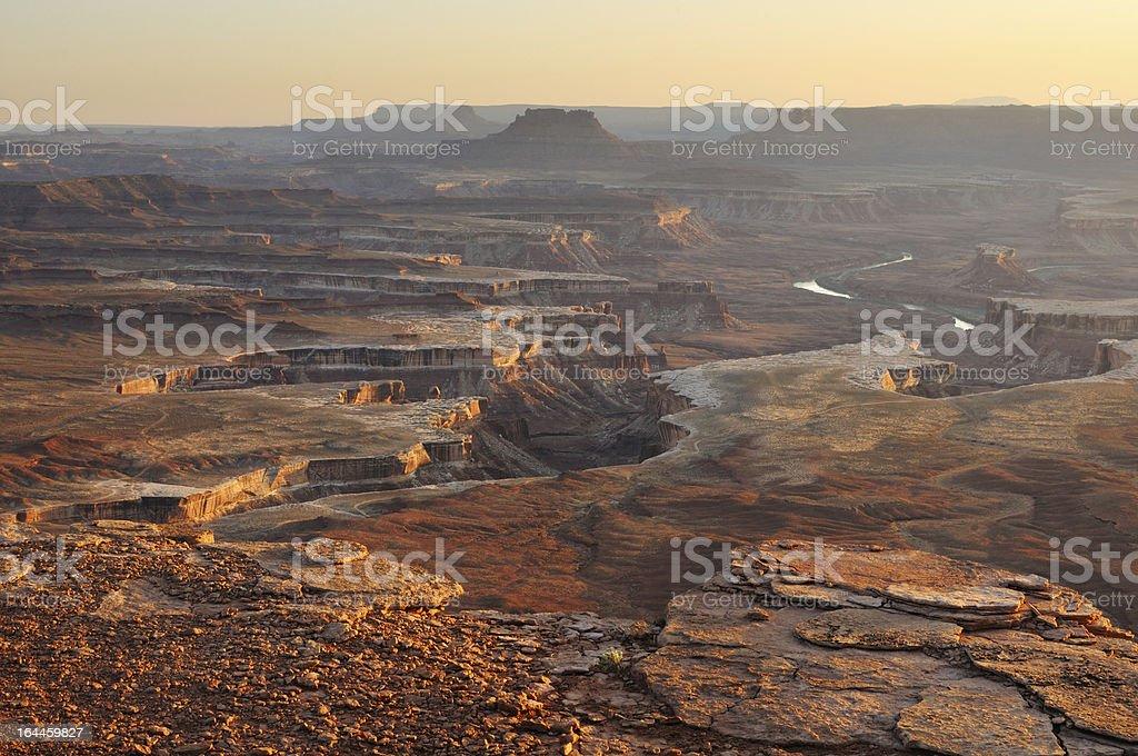 Golden sunset view in Canyonlands, Utah, USA stock photo