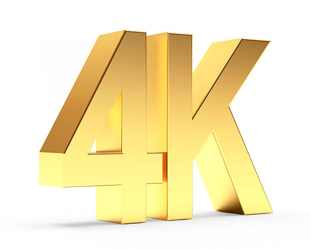4K golden symbol icon high definition digital television 4K golden symbol icon high definition digital television isolated on white background 4k resolution stock pictures, royalty-free photos & images