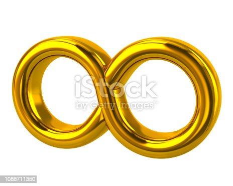 175960311 istock photo Golden symbol of infinity 3d illustration 1088711350