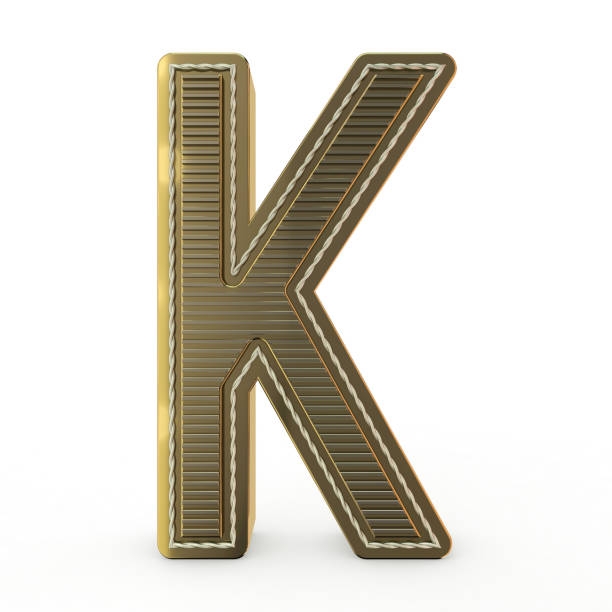 Golden symbol of the alphabet. 3D Golden symbol of the alphabet. Letter. 3D rendering k icon stock pictures, royalty-free photos & images
