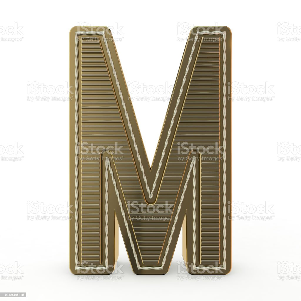 Golden symbol of the alphabet. 3D stock photo