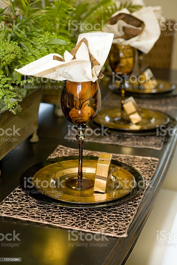 Golden Table Setting royalty-free stock photo