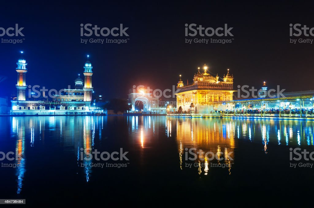 Golden Temple at night. Amritsar. India stock photo