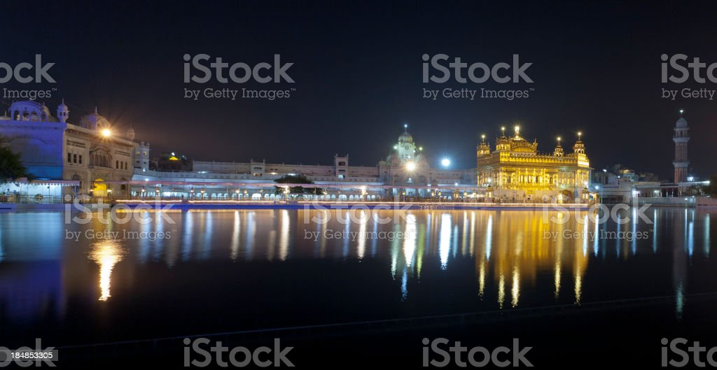 Golden Temple at night in Amritsar, India stock photo