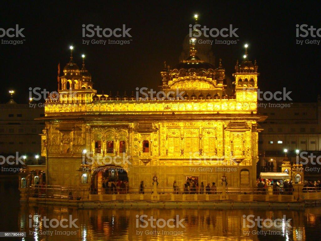 Golden Temple In Amritsar at night, India stock photo