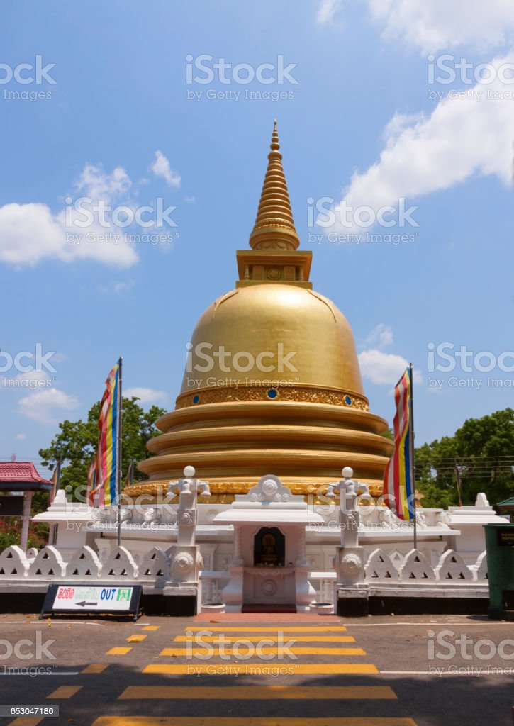 Golden temple of Dambulla, Sri Lanka, Buddhist dagoba (stupa) stock photo