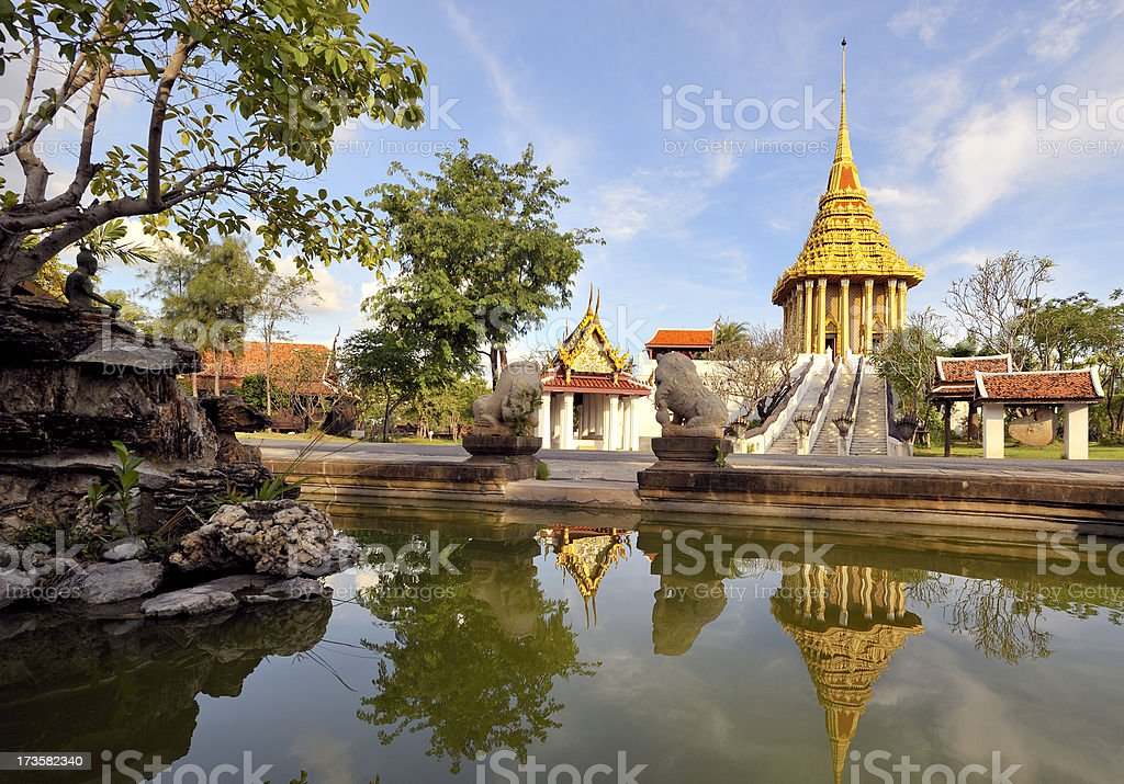 Golden temple with mirroring royalty-free stock photo