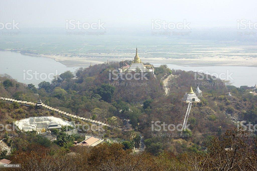 Golden temples in sagaing hill near Mandalay, Myanmar. stock photo