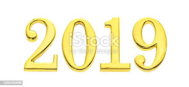 istock Golden text 2019 isolated in white background 1059495686