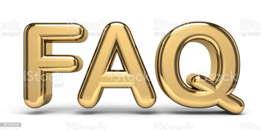 FAQ golden text 3D stock photo