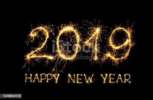 1049836902 istock photo Golden text Happy New Year 2019 1049840120