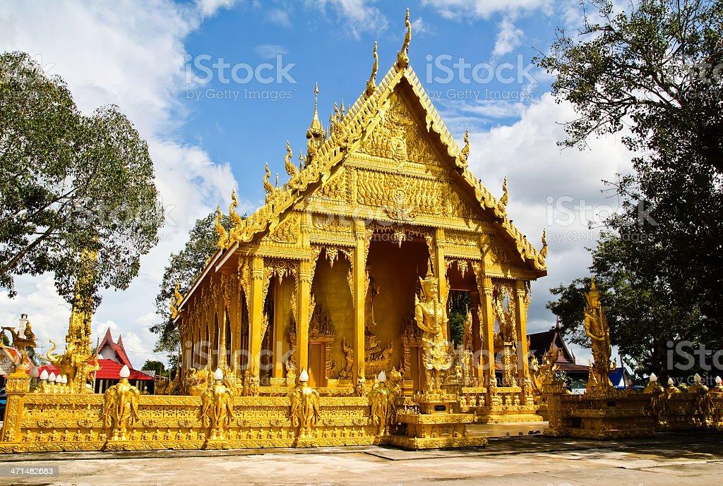 Golden Thai church against blue sky background,Chachoengsao prov royalty-free stock photo