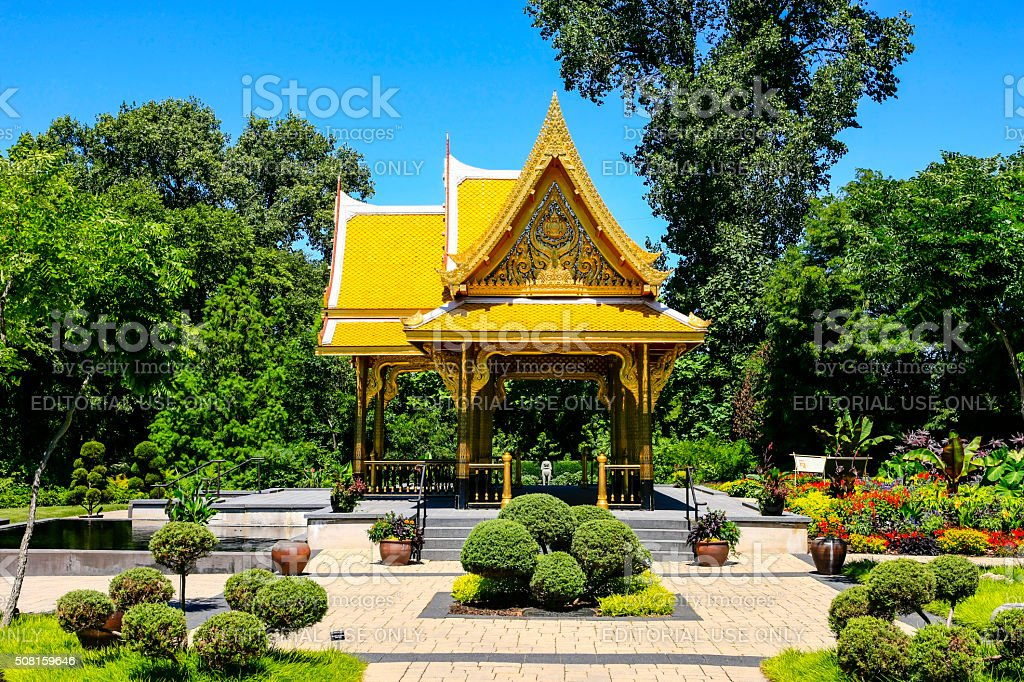 Golden Thai Pavillion At Olbrich Botanical Gardens In Madison Wisconsin  Royalty Free Stock Photo