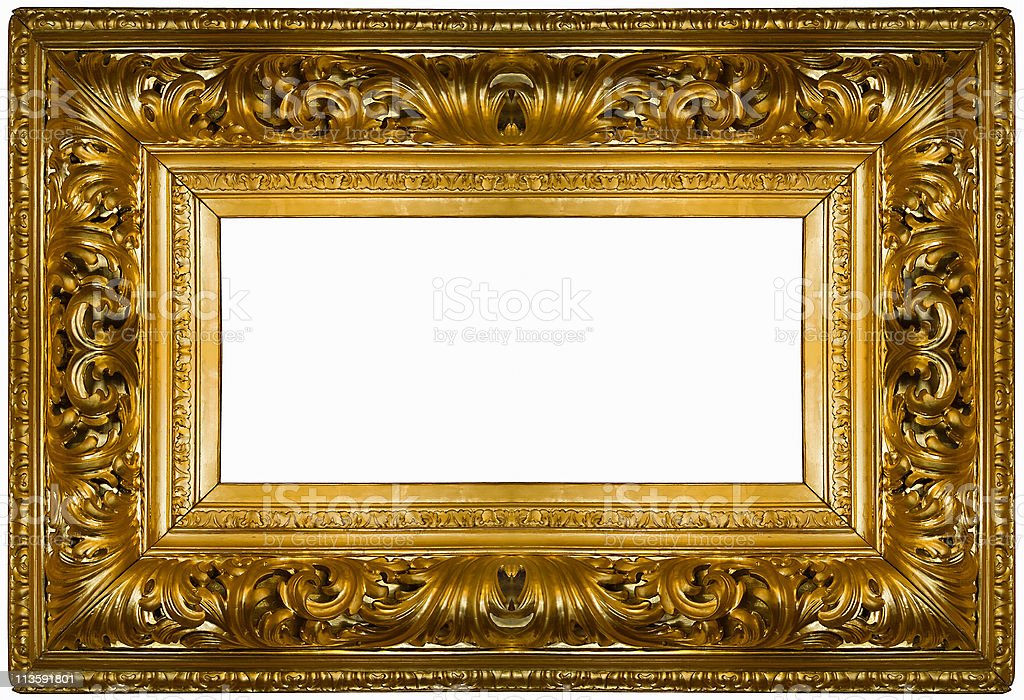 Golden thick frame royalty-free stock photo