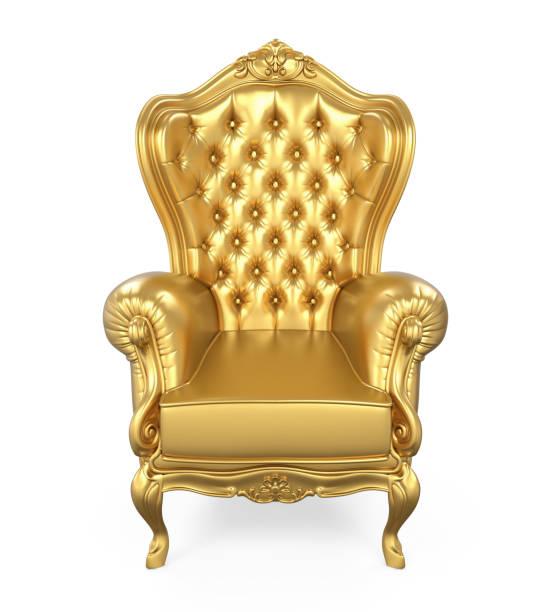golden throne chair isolated - tron zdjęcia i obrazy z banku zdjęć