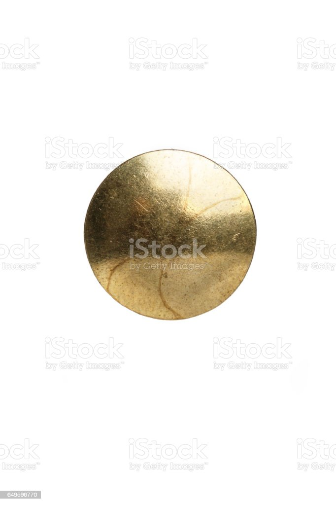 Golden Thumb Tack head stock photo