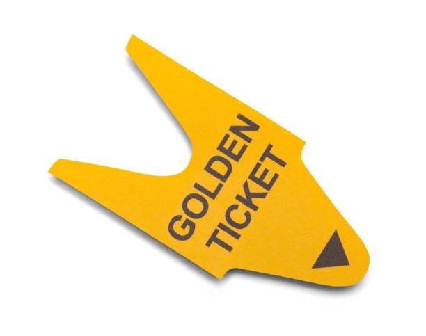 goldenes ticket - karte ziehen stock-fotos und bilder