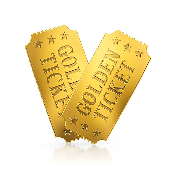 golden tickets - ticket stock photos and pictures