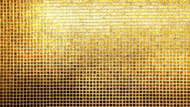 goldene fliesen muster quadratische textur - glitter farbige wände stock-fotos und bilder