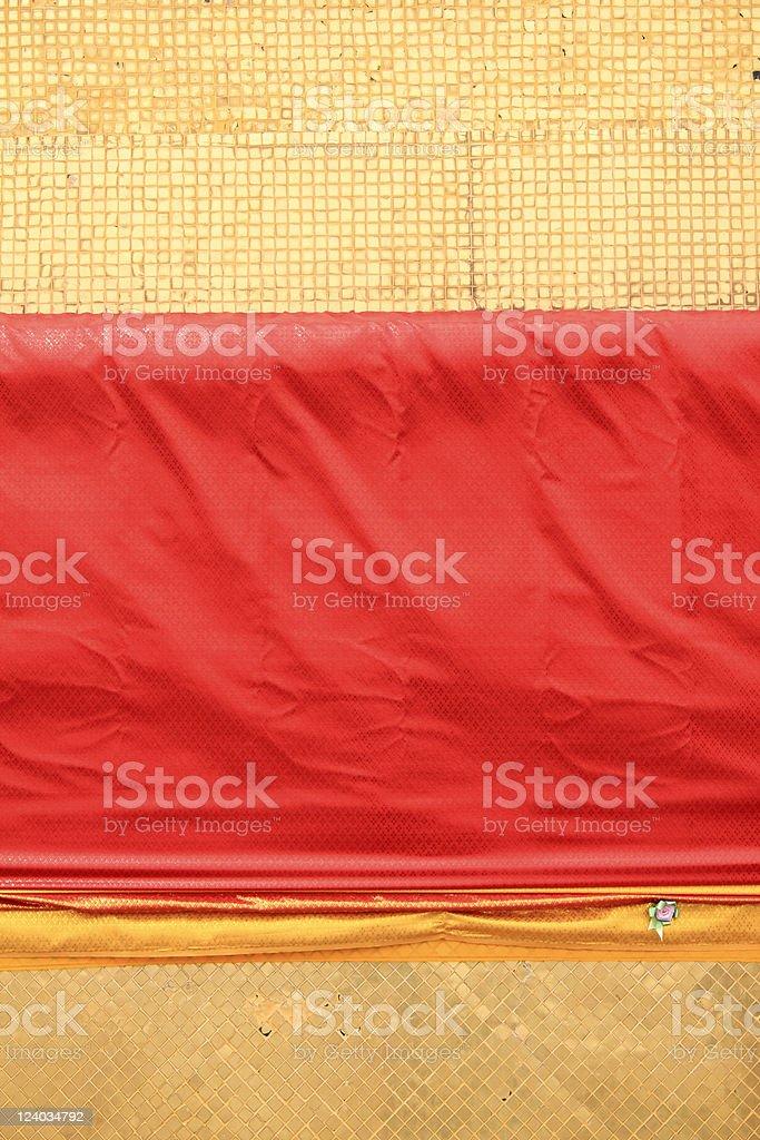 golden tiles red sash background thailand royalty-free stock photo