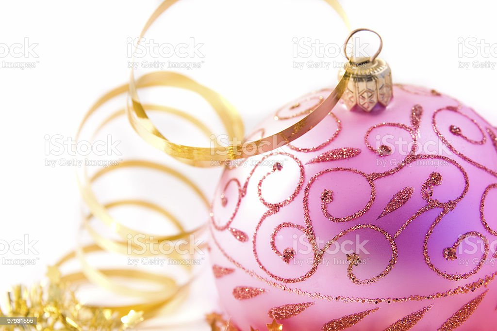 golden tinsel with glass decoration royalty-free stock photo
