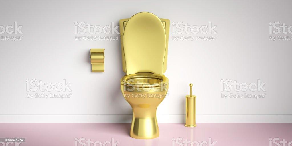 Goldene Toilettenschüssel auf Rosa Boden, weiße Wand Hintergrund, Textfreiraum. 3D illustration – Foto