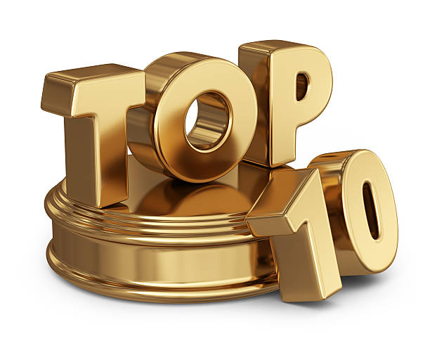 golden top 10 list. 3d icon isolated - bovenste deel stockfoto's en -beelden