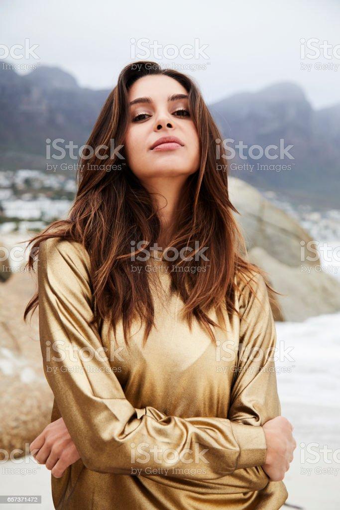 Golden top portrait stock photo