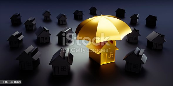 Golden toy house under an umbrella in a group of black toy houses - concept security