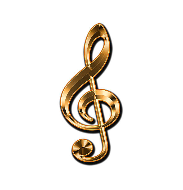 Golden treble clef on a white background stock photo