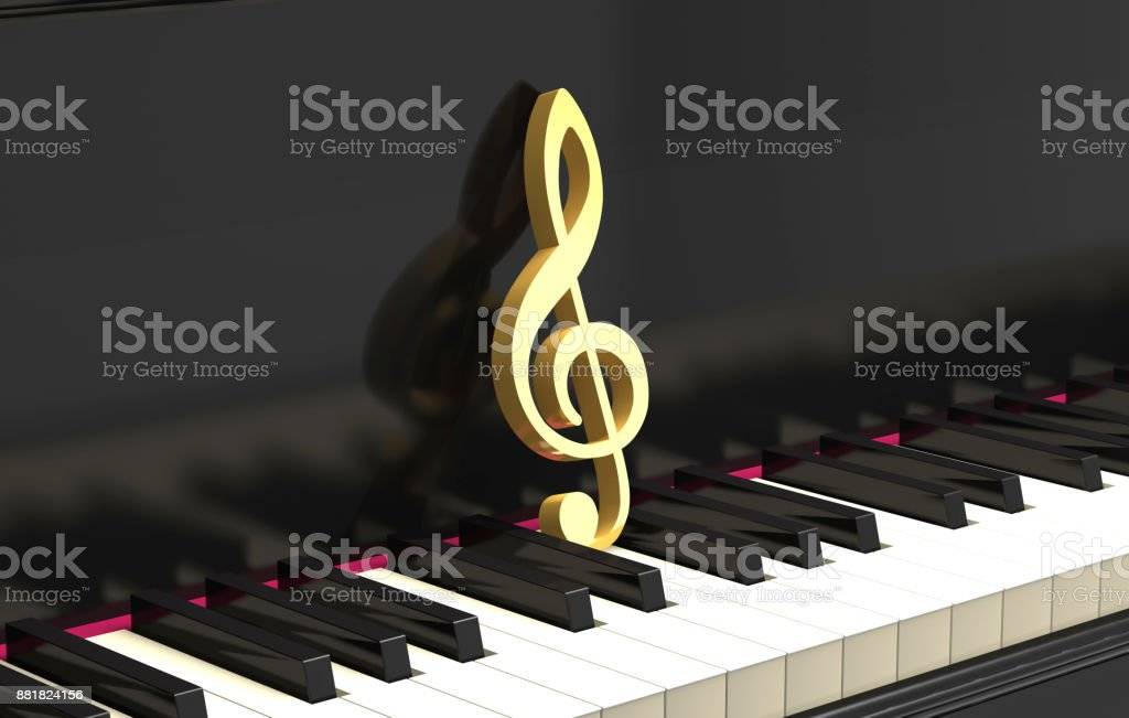 Golden treble clef on the piano keyboard (3d illustration). stock photo