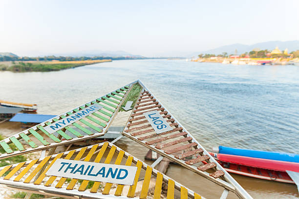 golden triangle - the border of thailand, burma and laos - mekong river stock pictures, royalty-free photos & images