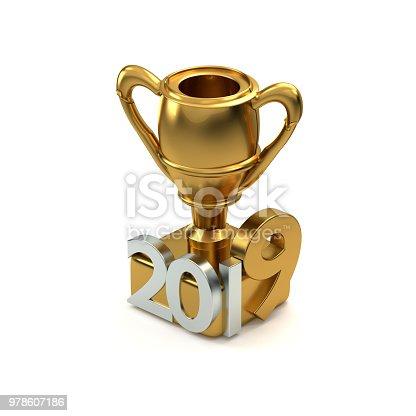 968131582 istock photo golden trophy 2019 3D rendering 978607186