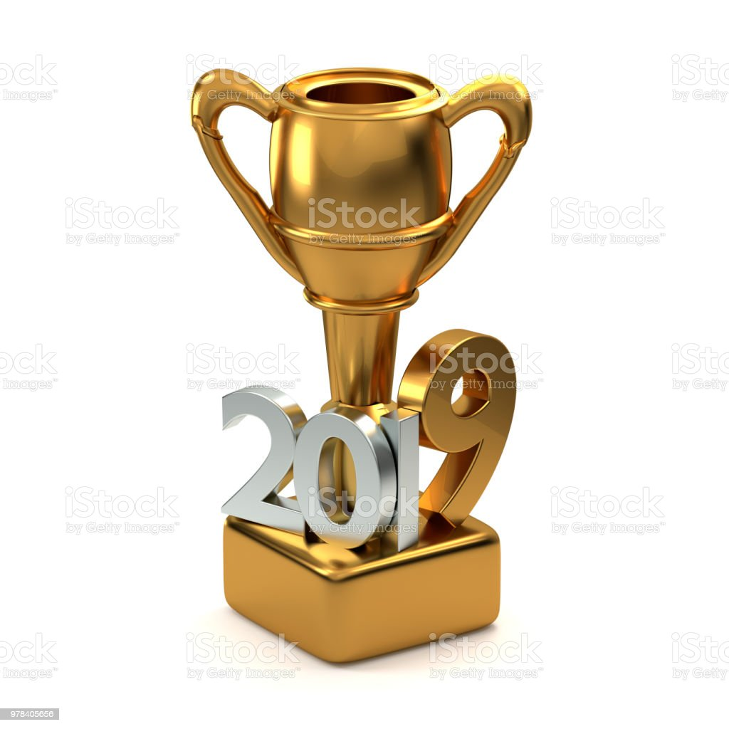 2019 golden trophy best of. 3d rendering stock photo