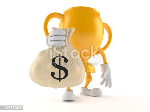 istock Golden trophy character holding money bag 1007642822