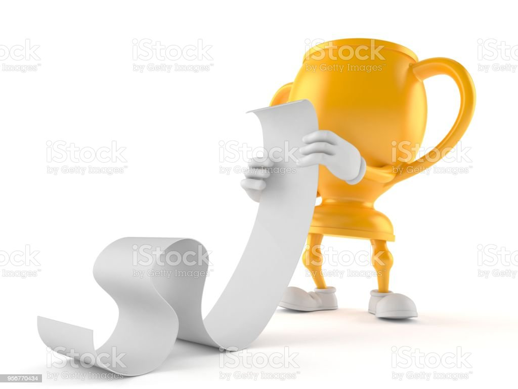 Golden Trophy Character Reading A Long List Stock Photo More