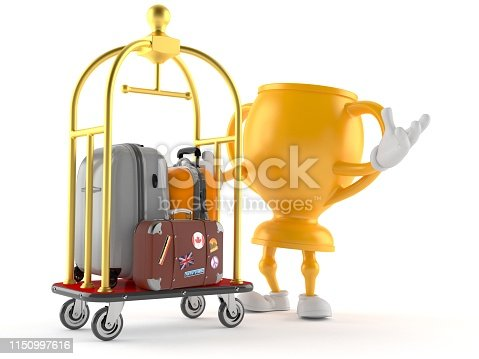 istock Golden trophy character with hotel luggage cart 1150997616