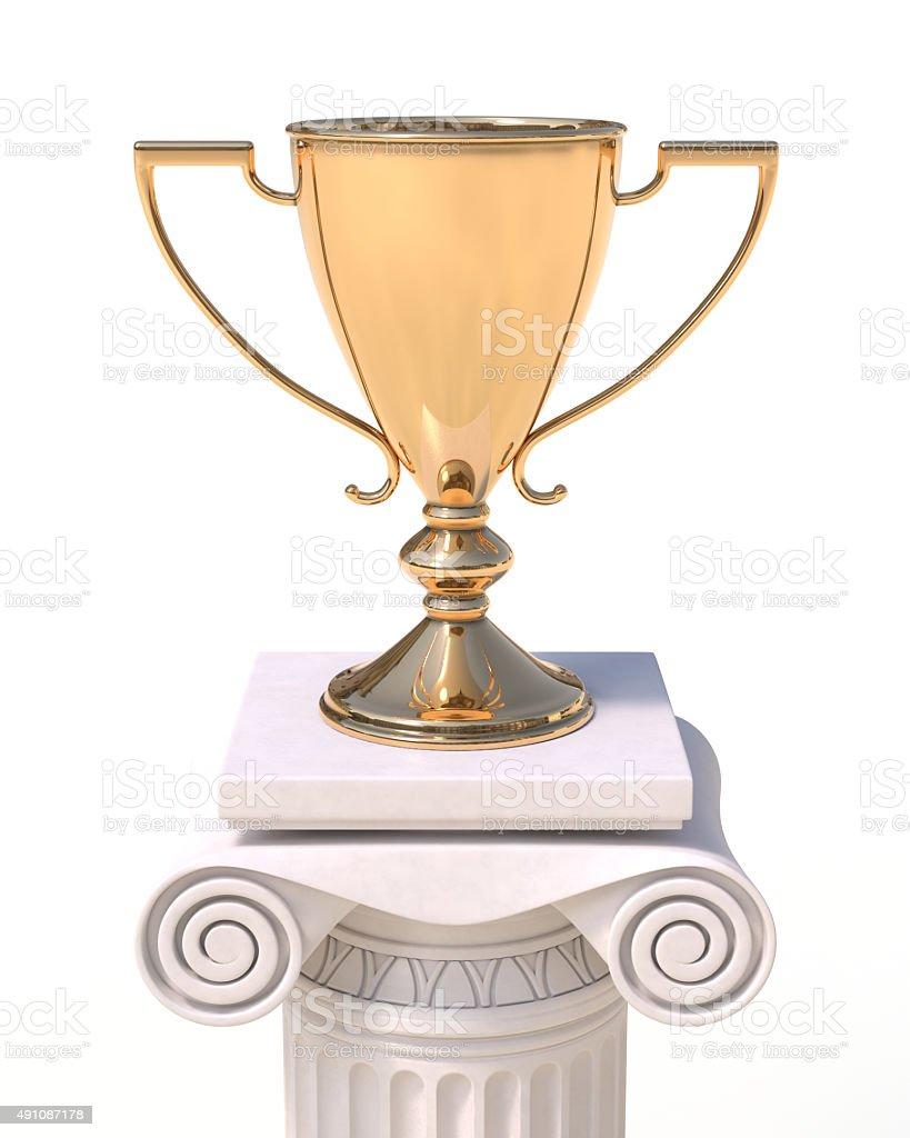 Golden trophy cup stock photo