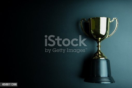 istock Golden trophy isolated on black background with copy space.Concept winner. 658811266