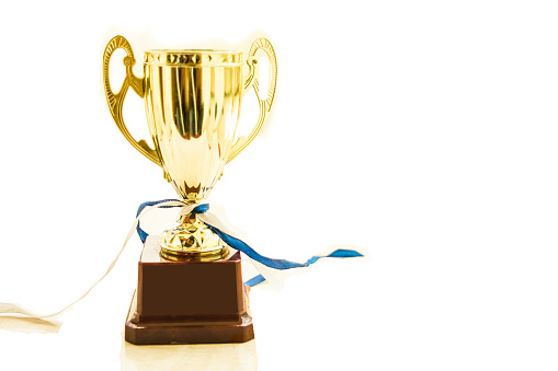 istock Golden trophy isolated 904297104